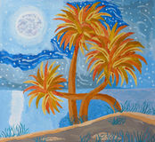 Island Night Hand Painting Royalty Free Stock Images
