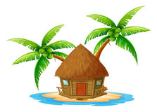 An island with a nipa hut. Illustration of an island with a nipa hut on a white background Stock Photo