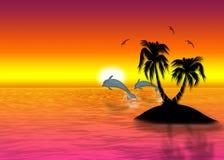 Island in ocean. Beautiful sea background rising sun Stock Photography