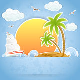 Island in ocean. Tropical Island with palms and Ship in ocean, illustration Stock Photography