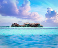 Island in ocean, Maldives Royalty Free Stock Images