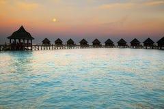 Island in ocean, Maldives. Night. Stock Photos