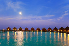 Island in ocean, Maldives. Night. Royalty Free Stock Image