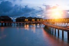 Island in ocean, Maldives. Night Royalty Free Stock Photo