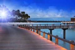 Island in ocean, Maldives. Night Royalty Free Stock Image