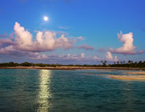 Island in ocean, Maldives. Night. Royalty Free Stock Image