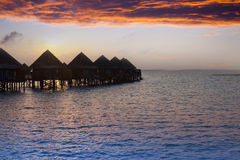 Island in ocean, Maldives.  Sunset. Royalty Free Stock Images