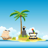 Island in ocean and money Royalty Free Stock Photos