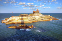 Island at ocean near Cape Comorin in Kanyakumari Royalty Free Stock Photography