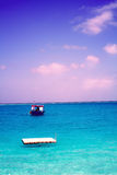 Island in ocean, overwater villa. Maldive Stock Photo