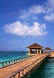 Island in ocean, overwater villa. Maldive Stock Image