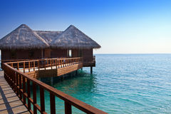 Island in ocean, overwater villas,Sea tropical landscape Stock Image