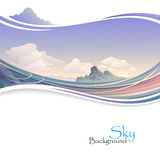 Island in Ocean and Vast Sky. Cruise to Island in Ocean and Vast Sky royalty free illustration