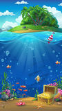 Island in the ocean - vector illustration. Undersea world with island mobile format. Marine life landscape - the ocean and the underwater world with different Stock Image