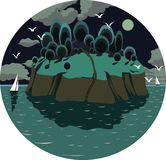 Island in the ocean, with yachts, birds, and a full moon at night. An island in the ocean, with yachts, birds, and a full moon at night stock illustration