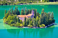 Island Of Visovac Monastery In Krka Stock Photography