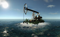 Island Oil Pump 3D illustration Stock Photography