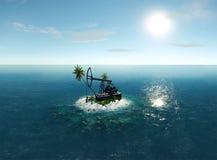 Island Oil Pump 3D illustration Royalty Free Stock Image