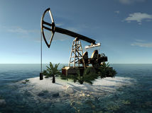 Island Oil Pump 3d rendering Royalty Free Stock Photography