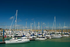 Island Oleron in France with yachts in harbor. Island D'Oleron in the French Charente with yachts in harbor Saint-Denis royalty free stock photos