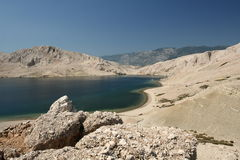 Island Pag. This photo introduces island Pag ,mountains,and mediterranean sea.(Croatia Europa Royalty Free Stock Images