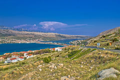 Island of Pag aerial bay view Stock Photography