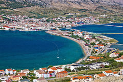 Island of Pag bay aerial view Royalty Free Stock Images