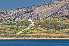 Island of Pag coast monastery Royalty Free Stock Photo