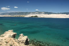 Island Pag-Croatia. This photo introduces island Pag ,mountains,and mediterranean sea.(Croatia Europa Stock Image
