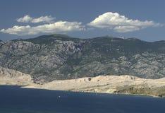 Island Pag-Croatia. This photo introduces island Pag ,mountains,and mediterranean sea.(Croatia Europa Royalty Free Stock Photo