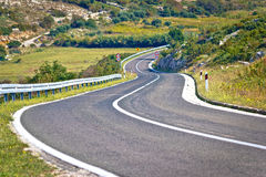 Island of Pag curvy road Royalty Free Stock Images