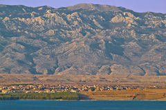 Island of Pag and Velebit mountain Royalty Free Stock Images