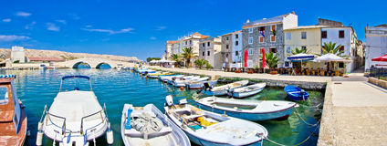 Island of Pag waterfront panorama royalty free stock photography