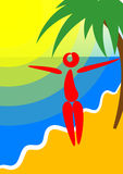 Island and palm. The happy person has a rest on island under a palm tree royalty free illustration