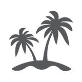 Island and Palm icon Flat. Palms and island icon flat. Illustration isolated vector sign symbol Stock Photos