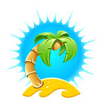 Island with palm and sand beach Royalty Free Stock Photography