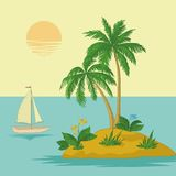 Island with palm and ship Royalty Free Stock Images