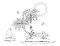 Island with palm and ship contours Stock Image