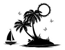 Island with palm and ship silhouettes Royalty Free Stock Photography