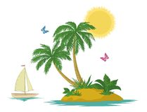 Island with palm and ship Stock Photos