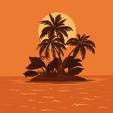 Island with palm and sun Royalty Free Stock Photos