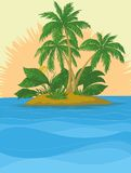 Island with palm and sun Stock Photos