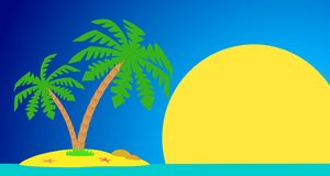 An island with a palm tree. An island with a palm tree on a background of a sea landscape royalty free illustration
