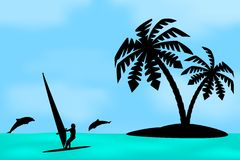 An island with a palm tree. Stock Images