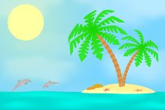 An island with a palm tree. Stock Photography