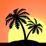 An island with a palm tree. An island with a palm tree on a background of a sea landscape stock illustration