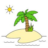 Island with Palm Tree Isolated. Tropical Island with Green Palm Tree in the Ocean Isolated on a White Background, Vector Illustration Royalty Free Stock Image