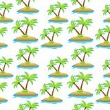 Island, palm tree seamless texture. Summer seamless pattern. Vector illustration. Royalty Free Stock Photos