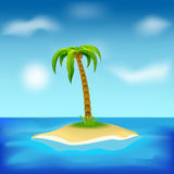 Island. With palm tree, suitable as a background for your ideas Stock Images
