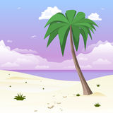 Island with palm tree on tropical white sand. Illustration Royalty Free Stock Image